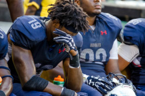 A member of the Howard Bison football team shows frustration during the 2016 AT&T Nation's Classic Saturday, September 17. (Photo Credit: Zachary Stephens, Staff Photographer/The Hilltop)